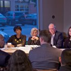 IMAGE: Mayor Rawlings-Blake and youth employment partners participate in a Solutions City panel at Starbucks